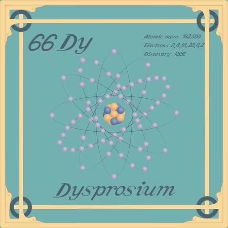 Periodic table element. Dysprosium colorful icon. Vector. Banque d'images - 143091566
