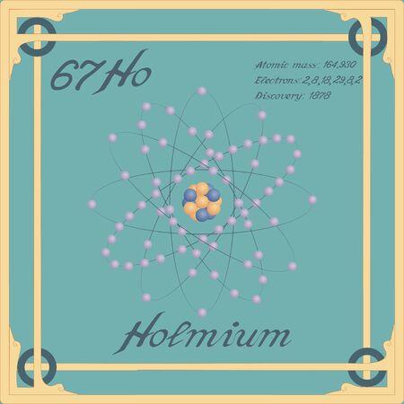 Periodic table element. Holmium colorful icon. Vector.