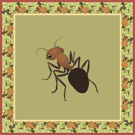 Ant color illustration in vintage square frame with lagenaria. Art Nouveau style. Vector.  Illustration