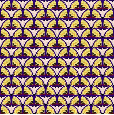 Vintage seamless pattern with butterflies. Zoomorphic ornament. Art Nouveau style. Vector.
