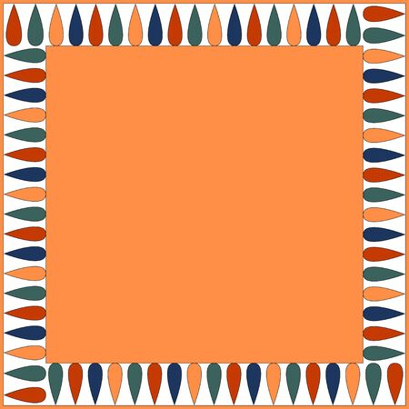 Egyptian traditional ornament. Square frame with geometric ornament. Ancient traditions. Vector.  Illustration
