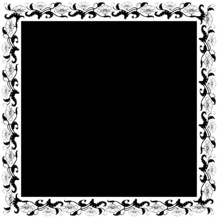 Vintage square frame with black & white tulips. Art Nouveau style. Vector.  Illustration