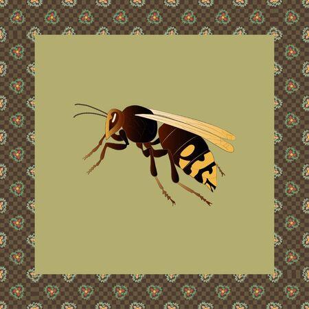 Hornet color illustration in japanese ornament frame. Vector.