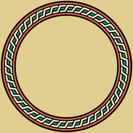Medieval ornament. Round frame with geometric ornament. Ancient traditions. Vector.