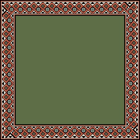 Medieval ornament. Square frame with geometric ornament. Ancient traditions. Vector.