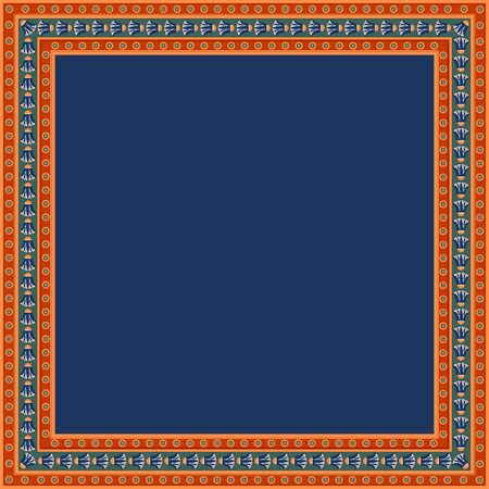 Egyptian traditional ornament. Square frame with floral ornament. Ancient traditions. Vector.  Illustration