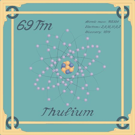 Periodic table element. Thulium colorful icon. Vector. Banque d'images - 144839906