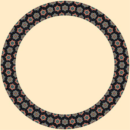 Japanese traditional ornament. Round frame with floral ornament. Ancient traditions. Vector.