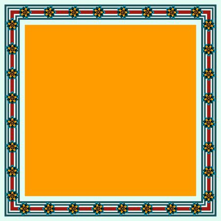 Japanese traditional ornament. Square frame with floral ornament. Ancient traditions. Vector.