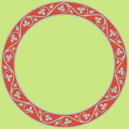 Medieval ornament. Round frame with floral ornament. Ancient traditions. Vector. Illustration