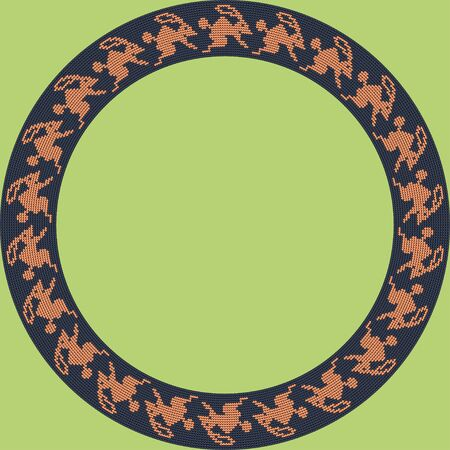 Norwegian traditional ornament. Round frame with zoomorphic ornament. Knitting Pattern. Vector. Banque d'images - 144839935