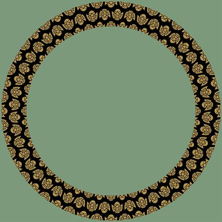 Japanese traditional ornament. Round frame with zoomorphic ornament. Ancient traditions. Vector.  Illustration