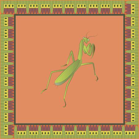 Mantis color illustration in egyptian ornament frame. Vector.  Vettoriali