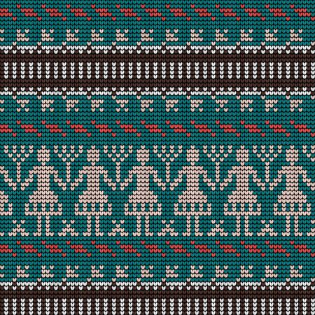 Norwegian traditional ornament. Seamless pattern with anthropomorphic ornament. Knitting Pattern. Vector.