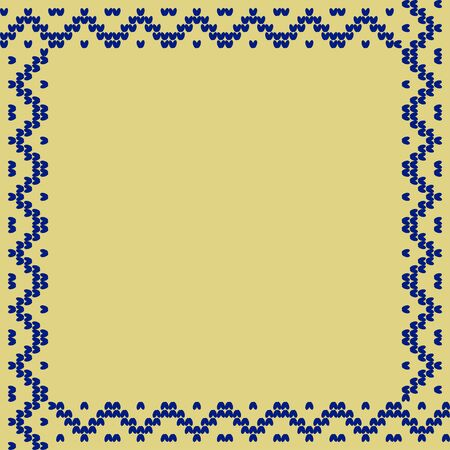 Norwegian traditional ornament. Square frame with geometric ornament. Knitting Pattern. Vector. Banque d'images - 146175186