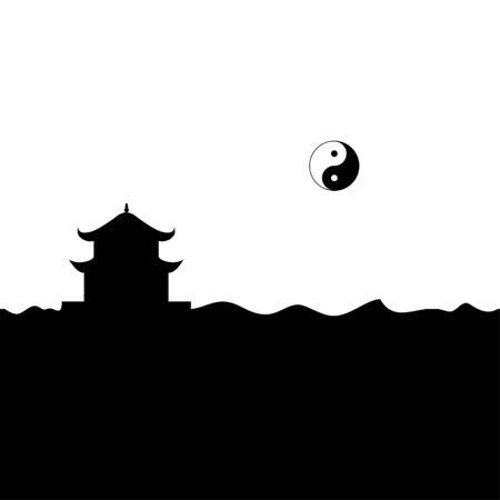 Taoism temple and yin yang symbol. Vector.