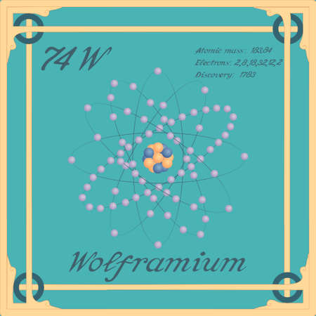 Periodic table element. Wolframium colorful icon. Vector.