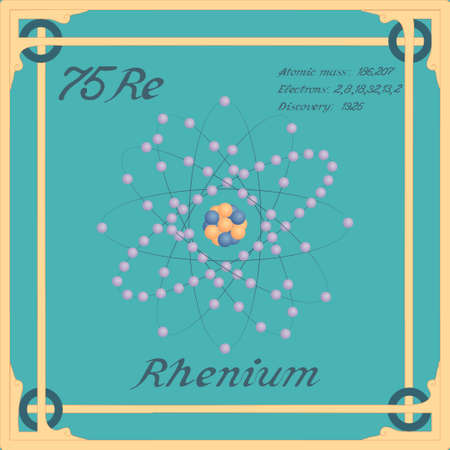 Periodic table element. Rhenium colorful icon. Vector.