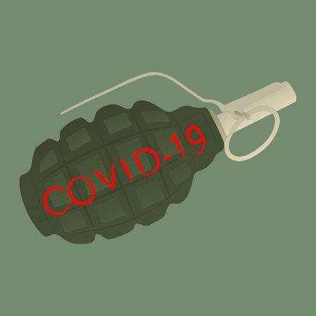 Hand grenade with inscription Covid-19. Dangerous virus 2020. Vector.