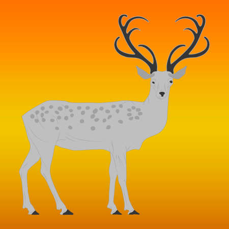 Cute deer with antlers. Flat vector illustration. Cartoon animal design. Vector.