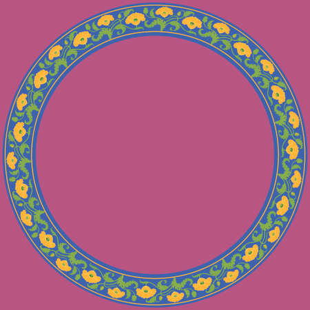 Vintage round frame with yellow tulips. Art Nouveau style. Vector. Illustration