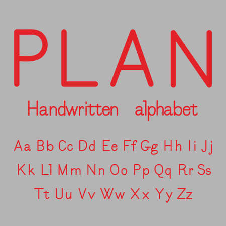 Plan. Handwritten alphabet. Vector.