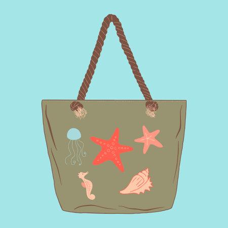 Colorful beach bag illustration. Element for summer design. Vector.