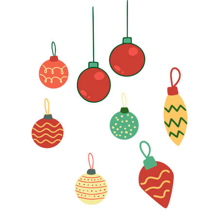 Set of Christmas decorations isolated on white background. Element for Christmas design. Vector.