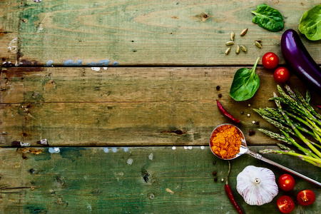 menu background: Food background with ingredients on old wooden texture. Stock Photo