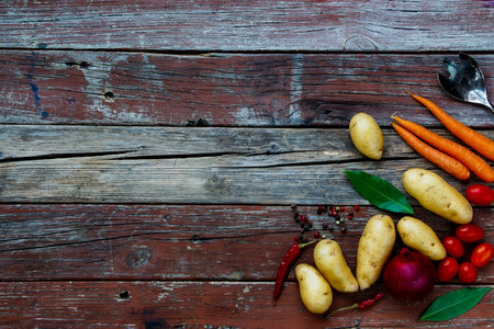 rustic food: Organic vegetables on rustic wooden table. Food background. Healthy food from garden.