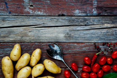 rustic food: Background with Organic vegetables on rustic wooden table. Healthy food from garden.
