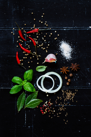 Close up Various Fresh Herbs and Spices with Onion Slices and Hot Peppers on dark vintage background.