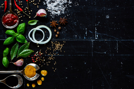 ESPECIAS: Diferentes tipos de salsas, hierbas frescas y especias sobre fondo oscuro de la vendimia con el espacio para el texto. Foto de archivo