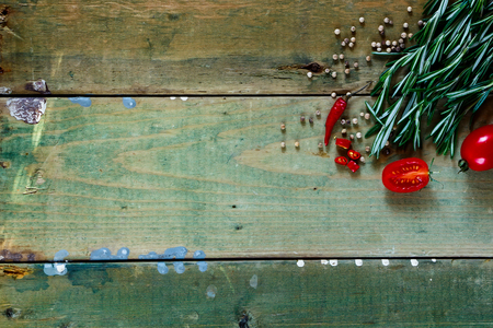 asian cook: Herbs and ingredients on old wooden background. Cooking, Healthy Eating or Vegetarian concept.