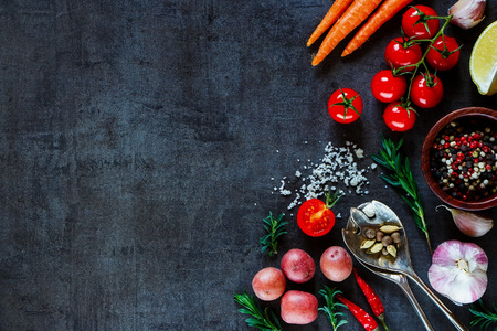 Spices, herbs and fresh vegetables for cooking on dark metal background with space for text. Top view. Bio Healthy food ingredients.
