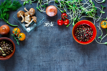 Close up of organic vegetables with fresh ingredients for healthily cooking on vintage background, top view, banner. Reklamní fotografie - 54733070