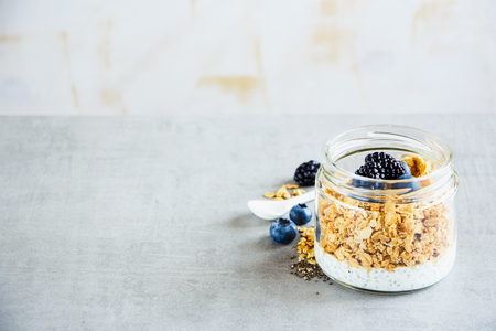 Delicious breakfast in jar. Greek yogurt, granola, dark berry breakfast, white wooden wall background, copy space, selective focus. Clean eating, vegan, vegetarian, weight loss, healthy food concept