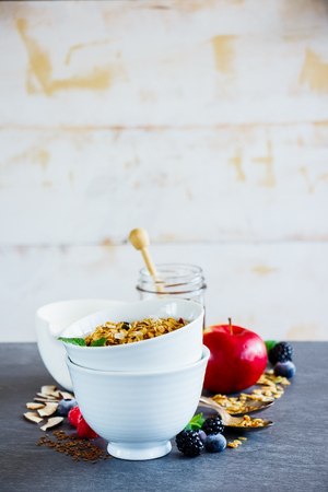 Granola and fruits. Breakfast set with granola, milk, honey and fresh organic berries, white wooden wall background, selective focus. Clean eating, vegan, vegetarian, weight loss, healthy food concept