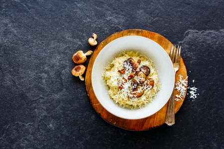 Bowl of porcini mushrooms risotto with parmesan cheese on dark stone copy space background. Healthy food concept. Top view. Flat lay Foto de archivo - 98387467