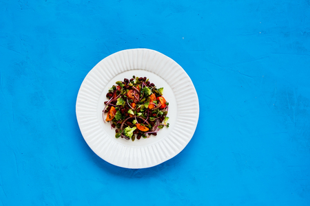 Vegan energy boosting salad on blue background. Beans, broccoli, tomatoes, red onion, sproots and pumpkin seeds flat lay. Clean eating, superfood, vegan, detox food concept