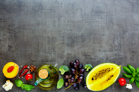 Flat lay of various fruits and vegetables background