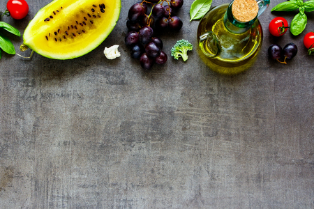 Fresh fruits and vegetables background close up. Flat lay Stock Photo