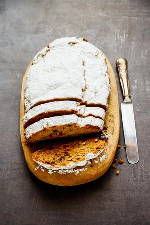 Delicious traditional stollen cake close up. Dresdner christ pastry