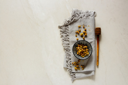 Chamomile tea composition from above flat lay