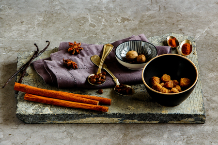 Coffee and spices on stone board