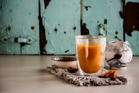 Traditional indian masala chai tea in glass cup. Stock Photo