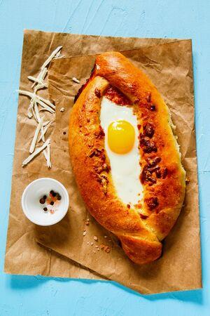 Classic Georgian adjara khachapuri with Sulguni Cheese