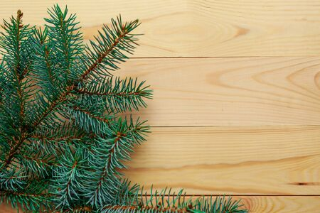 Natural spruce branches on wooden background. Flat lay, top view, copy space