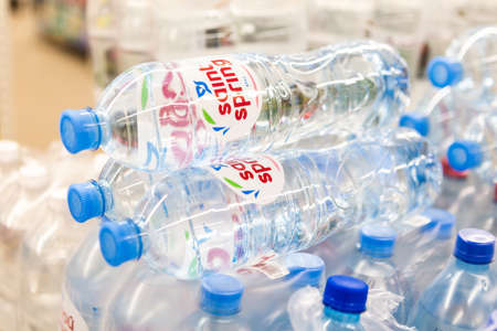 Minsk/ Belarus - March 20 2020: Pallet of bottled water in the store. Quarantine-2020 concept