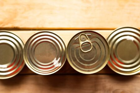 canned meat packs as a quarantine stock from coronavirus Фото со стока